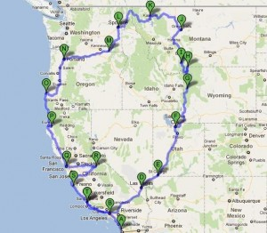 Map of our Route - 101 Days Around America: West Side