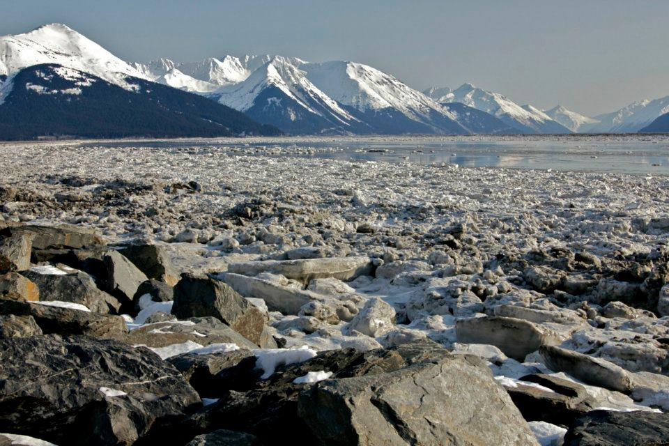 The frozen ocean along the Seward Highway in Alaska