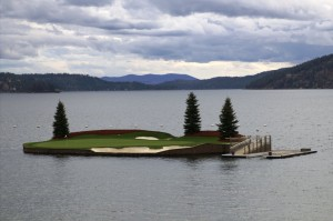 Floating Green on Coeur d'Alene Golf Course