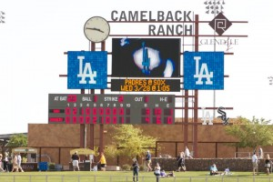 Scoreboard at Dodgers Spring Training