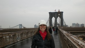 Julie walking the Brooklyn Bridge